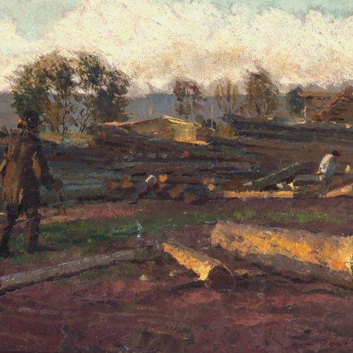 Reinicke, René. Holzarbeiter. Öl/Karton. 15,5 x 23,5 cm. Sign.