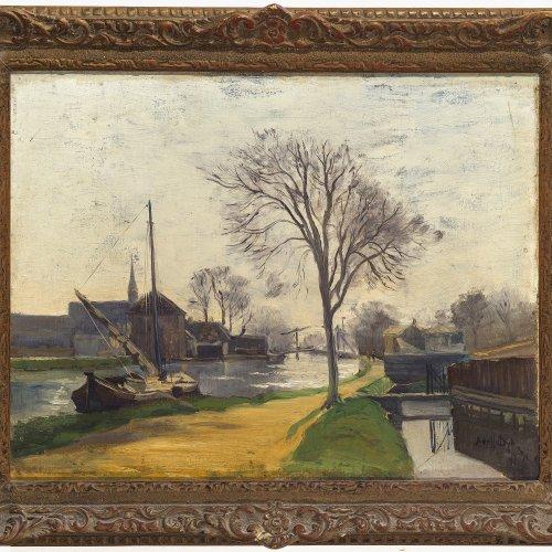 Dijk, Adolf van. Kleine Stadt an einem Fluss. Öl/Holz. 35,5 x 45,5 cm. Sign.