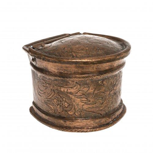 Salzgefäß. Kupfer. Süddeutsch, 18./19. Jh. H. 10,5 cm.