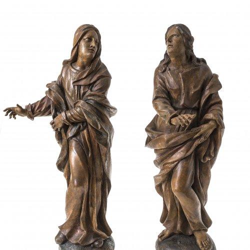 Jorhan, d.Ä., Christian, zugeschrieben. Maria und Johannes einer Kreuzigungsgruppe. Holz (Linde), Reste von Originalfassung. H. ca. je 77 cm.