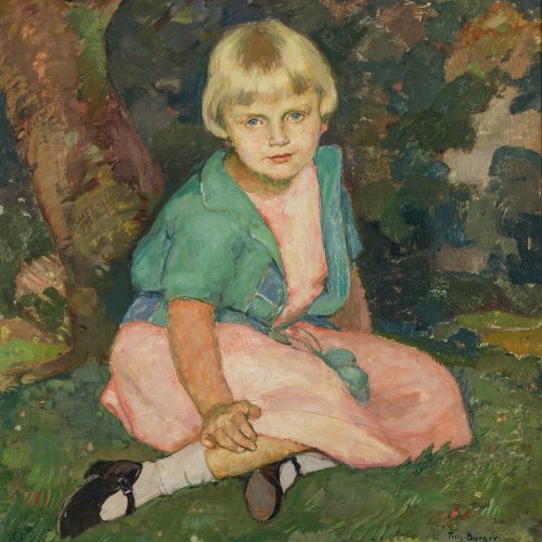 Burger, Fritz. Versonnenes Mädchen im Garten. Öl/Lw. 66 x 56 cm. Sig., dat. 26.