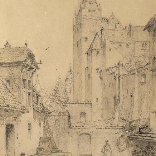 Lichtenheld, Wilhelm. Burg Trausnitz. Lavierte Federzeichnung. Sign., Stempel der MKG(Münchner Künstler Genossenschaft).