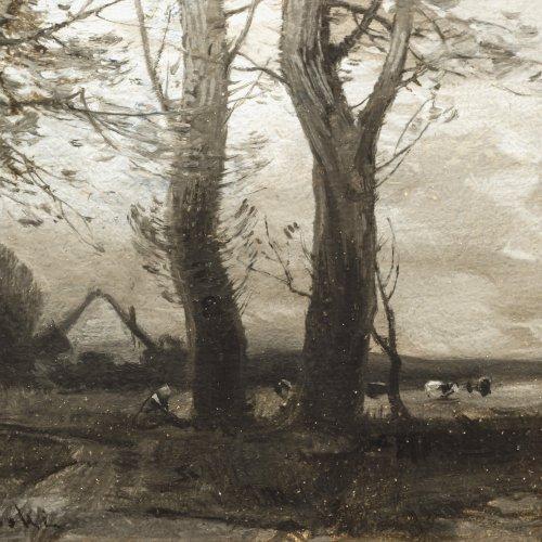 Kochanowski, Roman. Weite Landschaft mit Weidevieh. Öl/Papier/Holz. 15 x 23 cm. Sign.