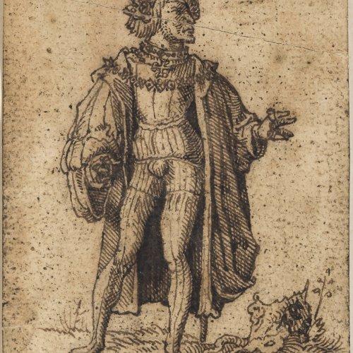 Huber, Wolf, Umkreis. Deutsch, 16. Jh. Stehender Edelmann in prunkvollem Gewand. Federzeichnung. 9,2 x 6,3 cm.