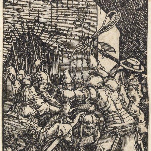 Altdorfer, Albrecht.  Christus fällt unter dem Kreuz. Bibelholzschnitt. 7,2 x 5 cm.