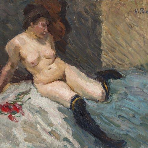 Pampel, Hermann. Liegender Mädchenakt. Öl/Lw. 58 x 72 cm. Sign., dat. 11.