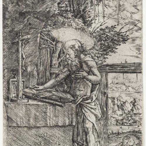 Altdorfer, Albrecht. Der lesende Hieronymus. Kupferstich. 10 x 6 cm. Rückseitig mit zwei Sammlerstempeln: Lugt 2722 bzw. 906 (Kouriss bzw. Edmund Schultze).