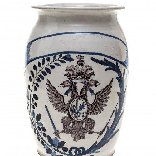 Amberger Apothekengefäß. Fayence, Wappen St. Emmeran.