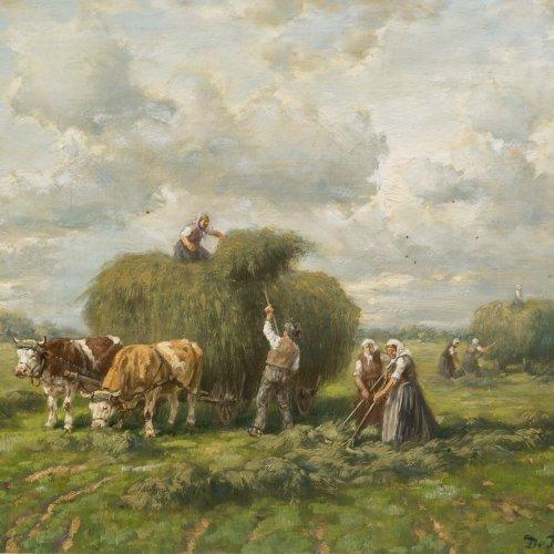 Thomssin, Désiré. Heuernte. Öl/Holz. 21 x 27 cm. Sign.