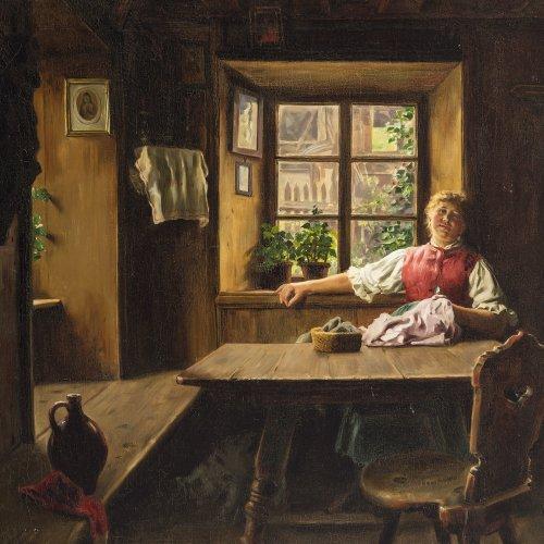 Rau, Emil, Dirndl in der Stube. Öl/Lw. 76 x 95 cm. Sign.