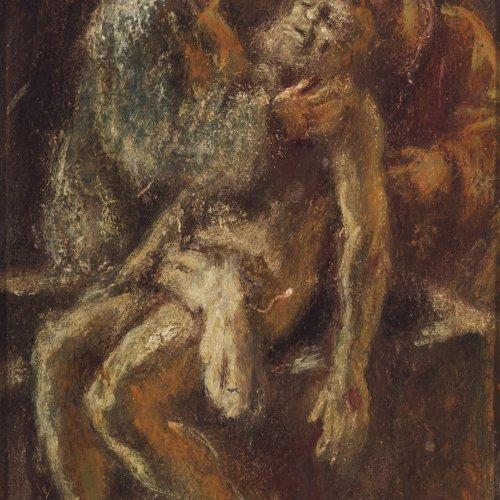 Welden, Leo von, Grablegung Christi. Öl/Karton. 19 x 11,5 cm.