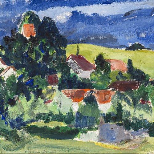 Debus, Asmus (Erasmus). Kleine Sommerlandschaft mit Dorf. Öl/Holz. 28,5 x 35,5 cm. Sign., dat. 33.