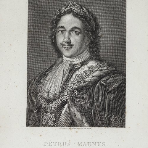 Anderloni, Petrus. Brustbild Zar Peter des Großen. Stahlstich. 30 x 20 cm. Min. fleckig.