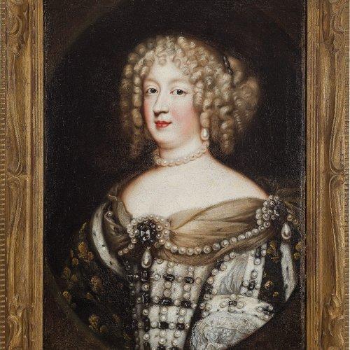 Nocret, Jean. Brustbild der Königin Maria-Theresia von Frankreich (1638-1683). Öl/Lw. 67 x 49 cm. Doubl., rest. Unsign.