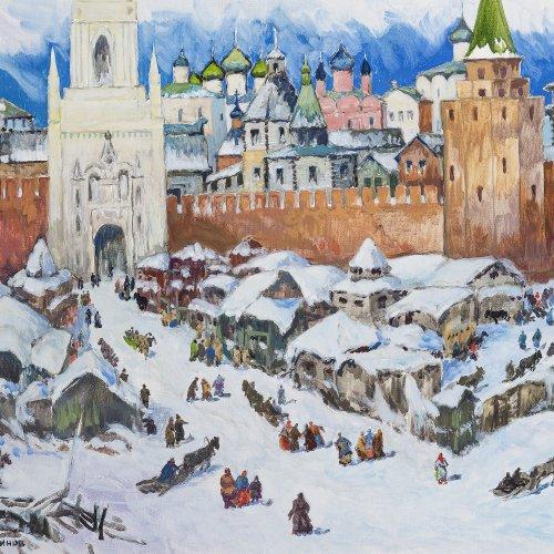 Blinov, Stas. Blick auf das alte Moskau im Winter. Öl/Lw. 60 x 80 cm. Sign., dat. 2006.