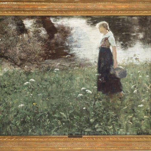 Herterich, Ludwig von. Mädchen mit Krug auf einer Blumenwiese. Öl/Lw. 69 x 90 cm. Sign.