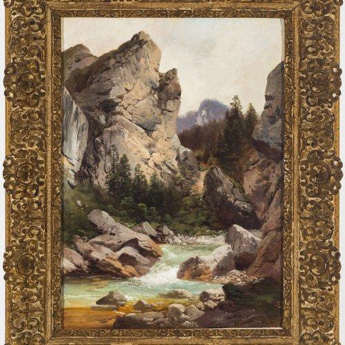 Millner, Karl, zugeschrieben. Klamm bei Kufstein (?). Öl/Lw. 55 x 40 cm. Doubl., rest. Unsign. Rücks. auf einer Leinwand Nachlassstempel.