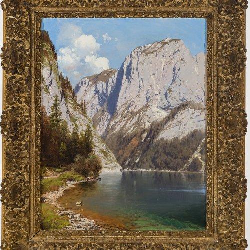 Millner, Karl, zugeschrieben. Blick auf den Altausseer See (?) im Salzkammergut. Öl/Lw. 54 x 42 cm. Doubl., rest. Unsign.