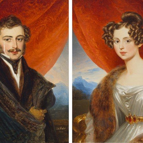 Ender, Johann Nepomuk. Zwei Brustporträts des Ehepaares Kuhn(?). Öl/Holz. Je ca. 24,5 x 19,5 cm. Besch., rest. Sign., dat. 1832.