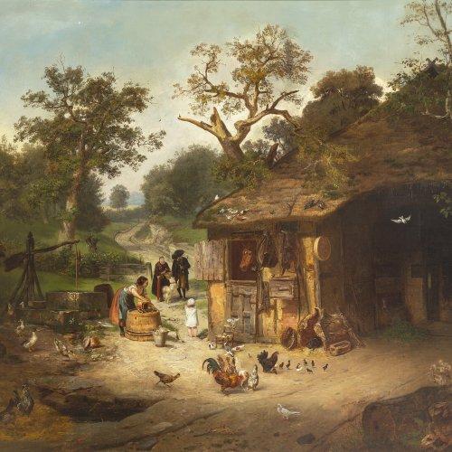 Dieffenbach, Anton Heinrich. Szene vor einem Bauerngehöft. 113 x 132 cm. Doubl., rest. Monogr.