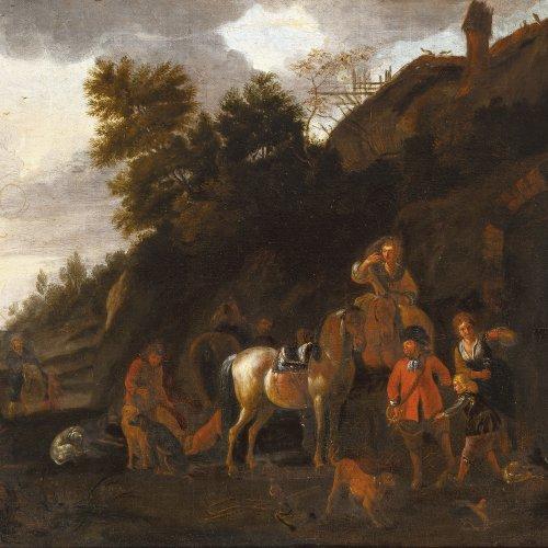 Wouwerman, Philips, zugeschrieben, Jagdgesellschaft, Öl/Lw. 47 x 64,5 cm
