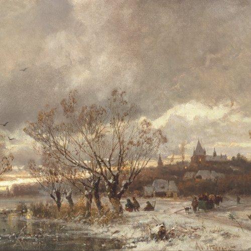 Stademann, Adolf. Winterliches Eisvergnügen. Öl/Lw. 38 x 58 cm.