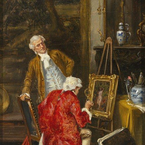 Franke, Albert Joseph. Begutachtung eines Mädchenaktes. Öl/Holz. 24 x 12,5 cm. Sign.