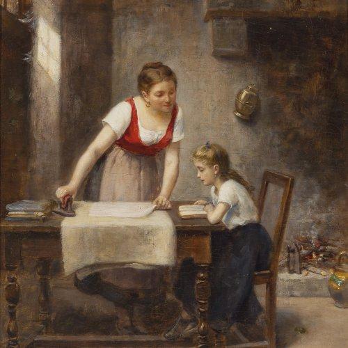 Caille, Léon Émile. Lernstunde. Öl/Lw. 46 x 38 cm. Doubl., rest. Sign., dat. 1890.