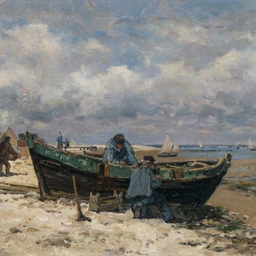 Vernier, Emile Louis Fischer reparieren Boot am Strand