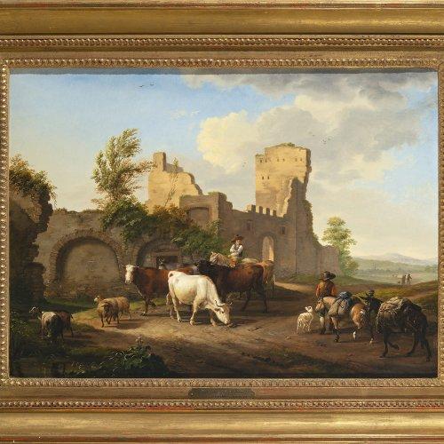 Pforr, Johann Georg. Hirten mit ihren Tieren, einem Packpferd und einem Esel  vor weiter arkadischer Landschaft. Öl/Holz. 42,5 x 58. Rest., sign.