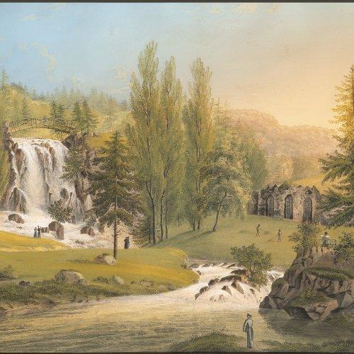 Bleuler, Johann Heinrich d.Ä. Waldlandschaft mit Wasserfall und Personen. Gouache. 43,5 x 62 cm. Sign.
