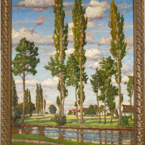 Kaiser, Richard.  Im Dachauer Hinterland. Öl/Lw. 100 x 81,5 cm. Sign., dat. 1913, bez.: München.