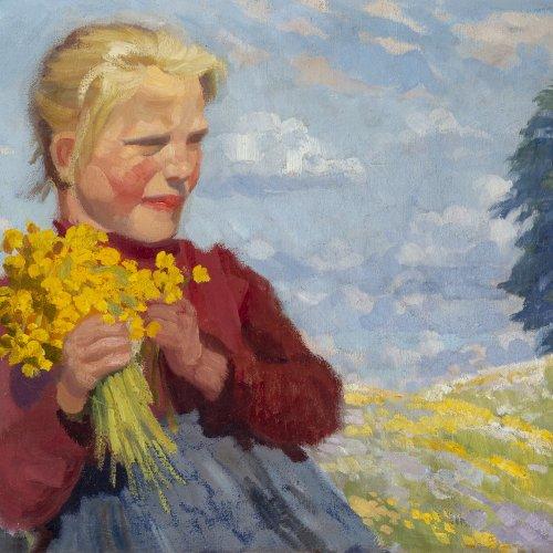 Georgi, Walter. Junges Mädchen mit einem Strauß gelber Sommerblumen, um 1903. Öl/Lw. 65 x 80,5 cm. Sign.