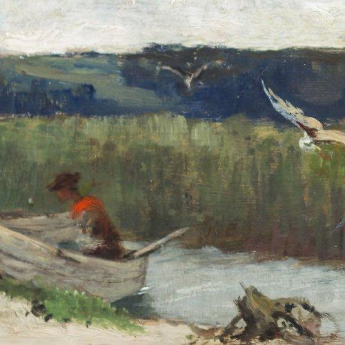 Splitgerber, August. Mädchen mit Kahn im Schilf. Öl/Holz. 9,4 x 21,2 cm. Sign.