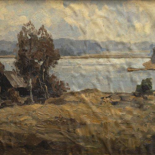 Baer von Mathes, Carola Hütte an einem See. Öl/Lw./Karton. 39 x 59 cm. Sign., dat. 26.