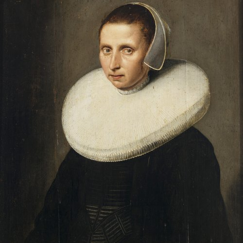 Cuyp, Jacob Gerritsz, Umkreis. Brustporträt einer Dame mit Mühlsteinkragen und Haube. Öl/Holz. 69,5 x 62 cm. Besch., rest. Unsign.