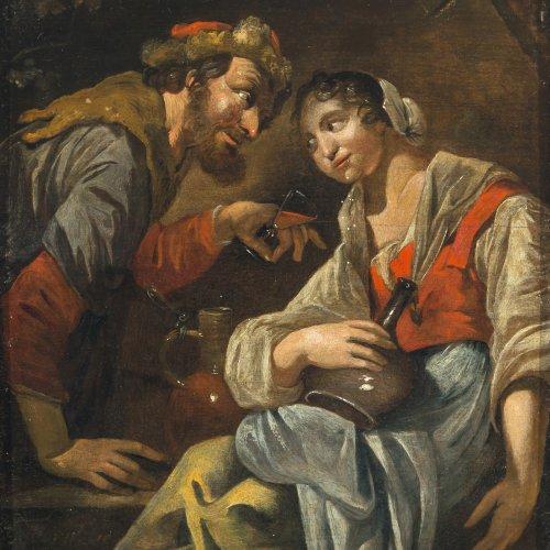 Toorenvliet, Jacob. Junges Paar beim Umtrunk. Öl/Holz. 25,5 x 22,5 cm. Rest., Signatur berieben.