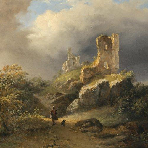 Dubourcq, Pierre Louis, zugeschrieben. Landschaft mit Ruine, im Vordergrund Wanderer mit Hund. Öl/Holz. 20,5 x 23,5 cm.