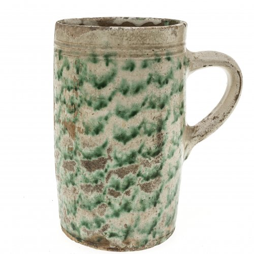Humpen, Irdenware, grüner Dekor