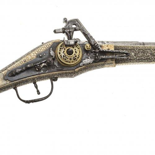 Prunk-Radschlosspistole (Puffer), L. 58 cm
