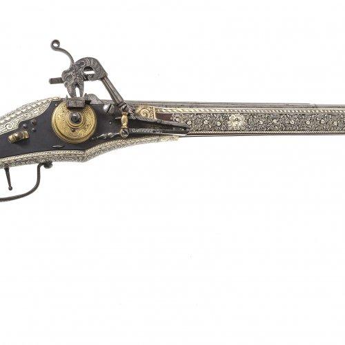 Prunk-Radschlosspistole (Puffer), L. 83 cm.