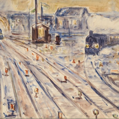 Thümen, H. Freiherr von, Bahnhof mit Gleisanlage, Aquarell, 49 x 71,5 cm.