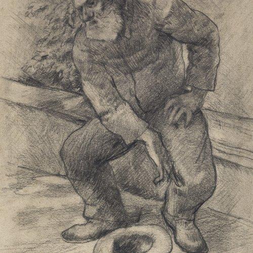 Eysen, Louis, Bettler, Bleistiftzeichnung, 20,5 x 15,5 cm.