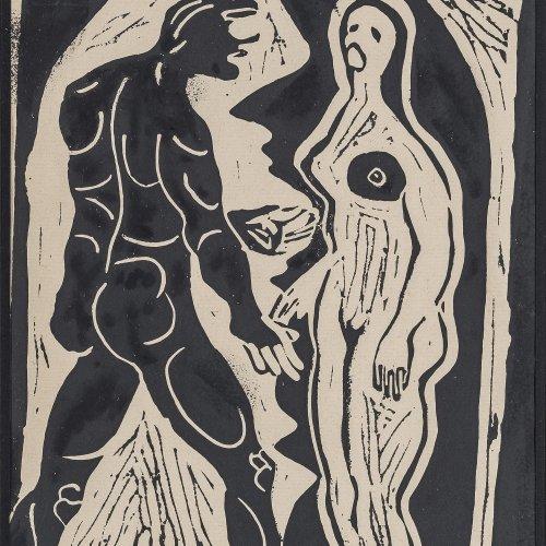 Munch, Eduard, Umnkreis.  Holzschnitt, 31,5 x 22,5 cm.