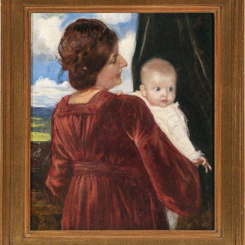 Corneille, Max, Mutter mit Kind, Öl/Lw., 44,5 x 38,5 cm.