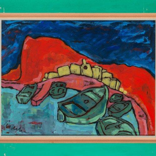 Peschke, Christian, Boote im Hafen, Öl/Karton, 48 x 64 cm.