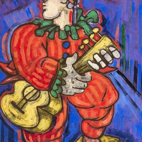 Peschke, Christian, Bajazzo, Öl/Spanplatte, 80 x 60 cm.