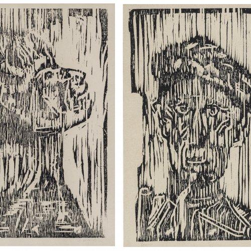 Munch, Eduard, zugeschrieben. Zwei Holzschnitte: Köpfe. Sign.