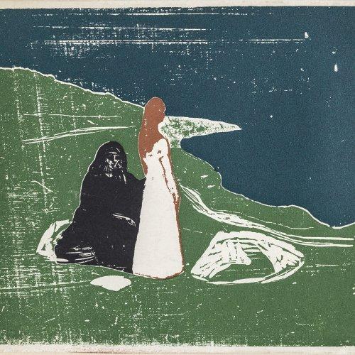 Munch, Eduard, Zwei Frauen am Meeresufer, Farbholzschnitt.