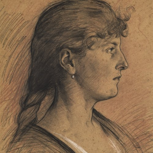 Eysen, Louis, Mädchenkopf im Profil, Kohlezeichnung.